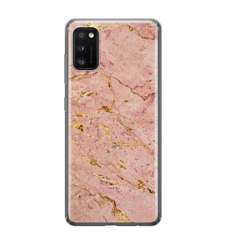 Samsung Galaxy A41 siliconen hoesje - Marmer roze goud
