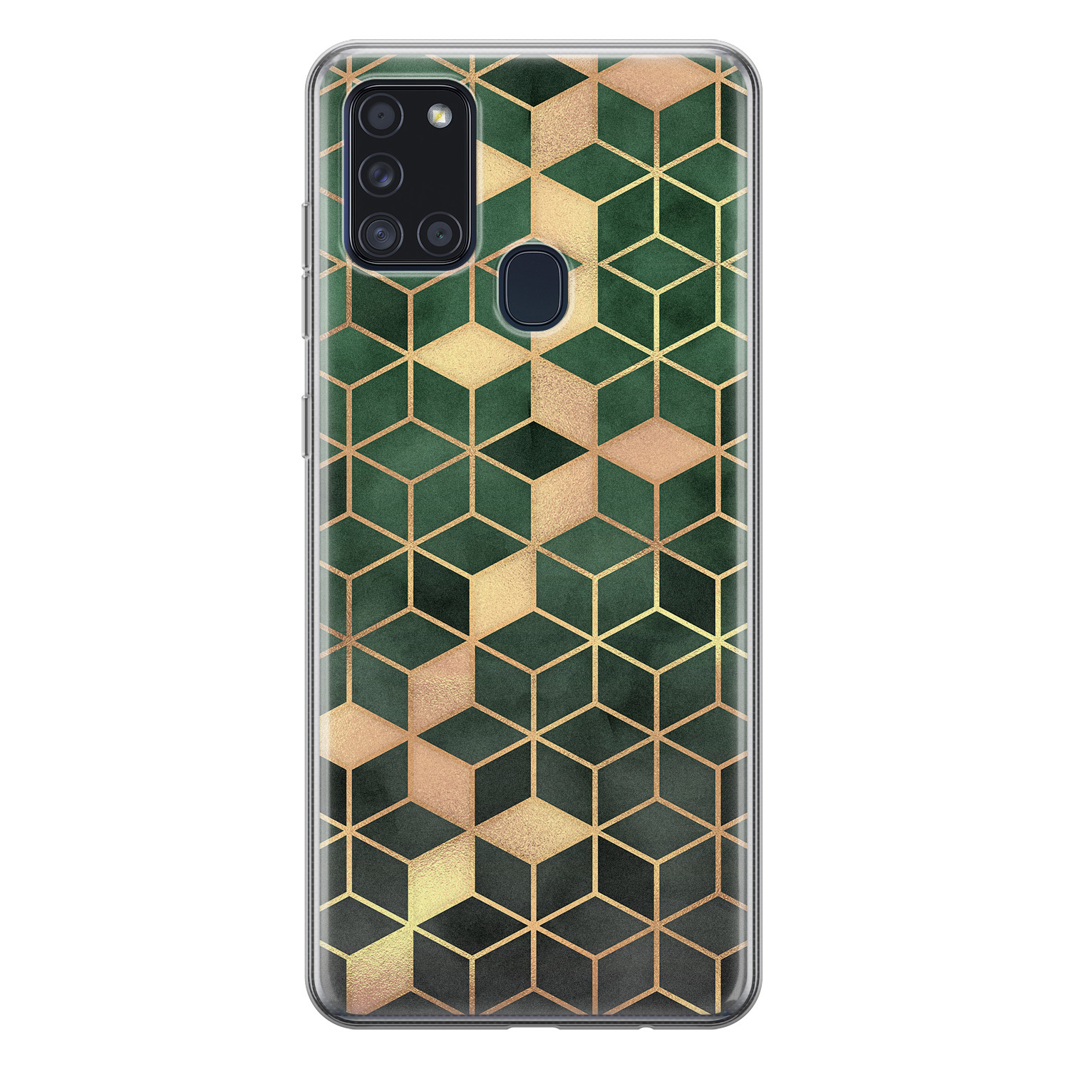 Samsung Galaxy A21s siliconen hoesje - Green cubes