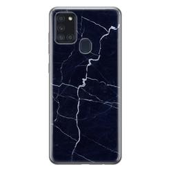 Leuke Telefoonhoesjes Samsung Galaxy A21s siliconen hoesje - Marmer navy blauw
