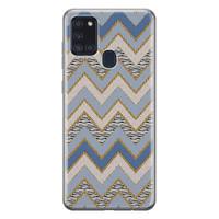 Samsung Galaxy A21s siliconen hoesje - Retro zigzag