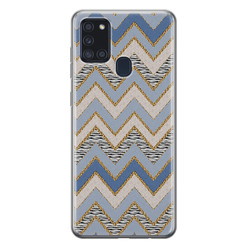Leuke Telefoonhoesjes Samsung Galaxy A21s siliconen hoesje - Retro zigzag