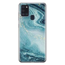 Leuke Telefoonhoesjes Samsung Galaxy A21s siliconen hoesje - Marmer blauw