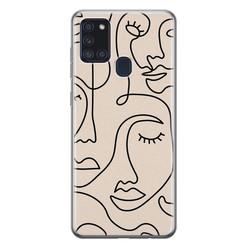 Leuke Telefoonhoesjes Samsung Galaxy A21s siliconen hoesje - Abstract gezicht lijnen