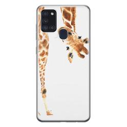 Leuke Telefoonhoesjes Samsung Galaxy A21s siliconen hoesje - Giraffe peekaboo