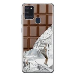 Leuke Telefoonhoesjes Samsung Galaxy A21s siliconen hoesje - Chocoladereep