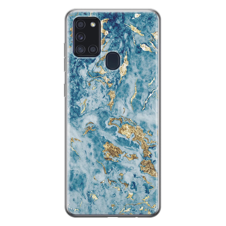 Samsung Galaxy A21s siliconen hoesje - Goud blauw marmer