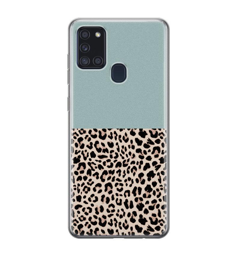 Samsung Galaxy A21s siliconen hoesje - Luipaard mint