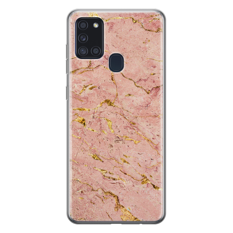 Samsung Galaxy A21s siliconen hoesje - Marmer roze goud