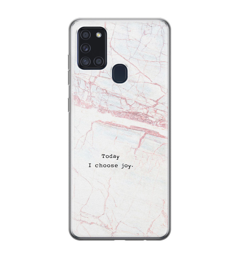Samsung Galaxy A21s siliconen hoesje - Goud abstract