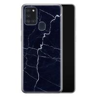 Samsung Galaxy A21s siliconen hoesje - Marmer navy blauw