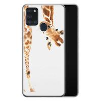 Samsung Galaxy A21s siliconen hoesje - Giraffe peekaboo