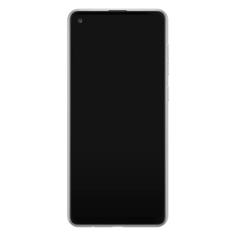 Samsung Galaxy A21s siliconen hoesje - Geometrisch blauw