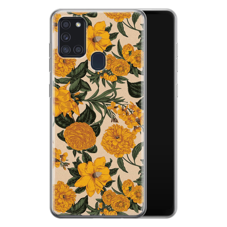 Samsung Galaxy A21s siliconen hoesje - Retro flowers