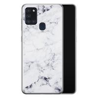 Samsung Galaxy A21s siliconen hoesje - Marmer grijs