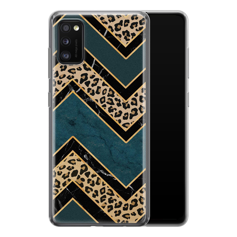 Samsung Galaxy A41 siliconen hoesje - Luipaard zigzag