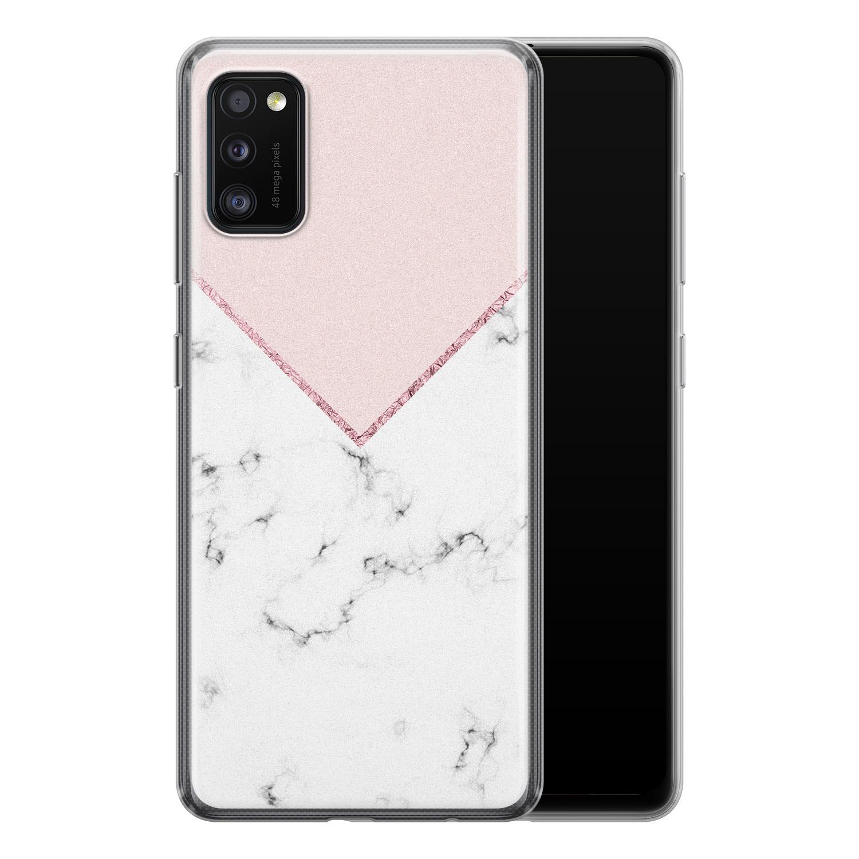 Samsung Galaxy A41 siliconen hoesje - Marmer roze grijs