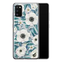 Samsung Galaxy A41 siliconen hoesje - Witte bloemen