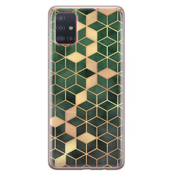 Samsung Galaxy A71 siliconen hoesje - Green cubes