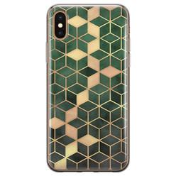 Leuke Telefoonhoesjes iPhone X/XS siliconen hoesje - Green cubes