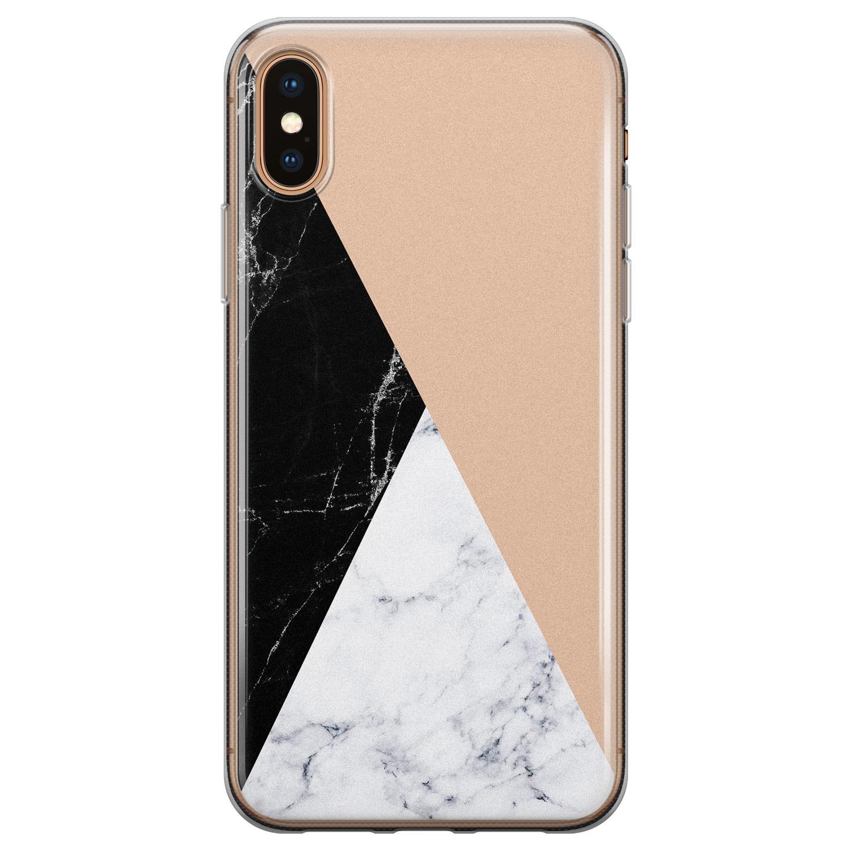 iPhone X/XS siliconen hoesje - Marmer zwart bruin