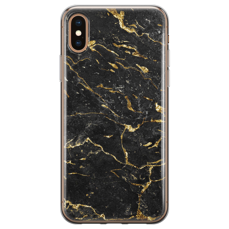 iPhone X/XS siliconen hoesje - Marmer zwart goud