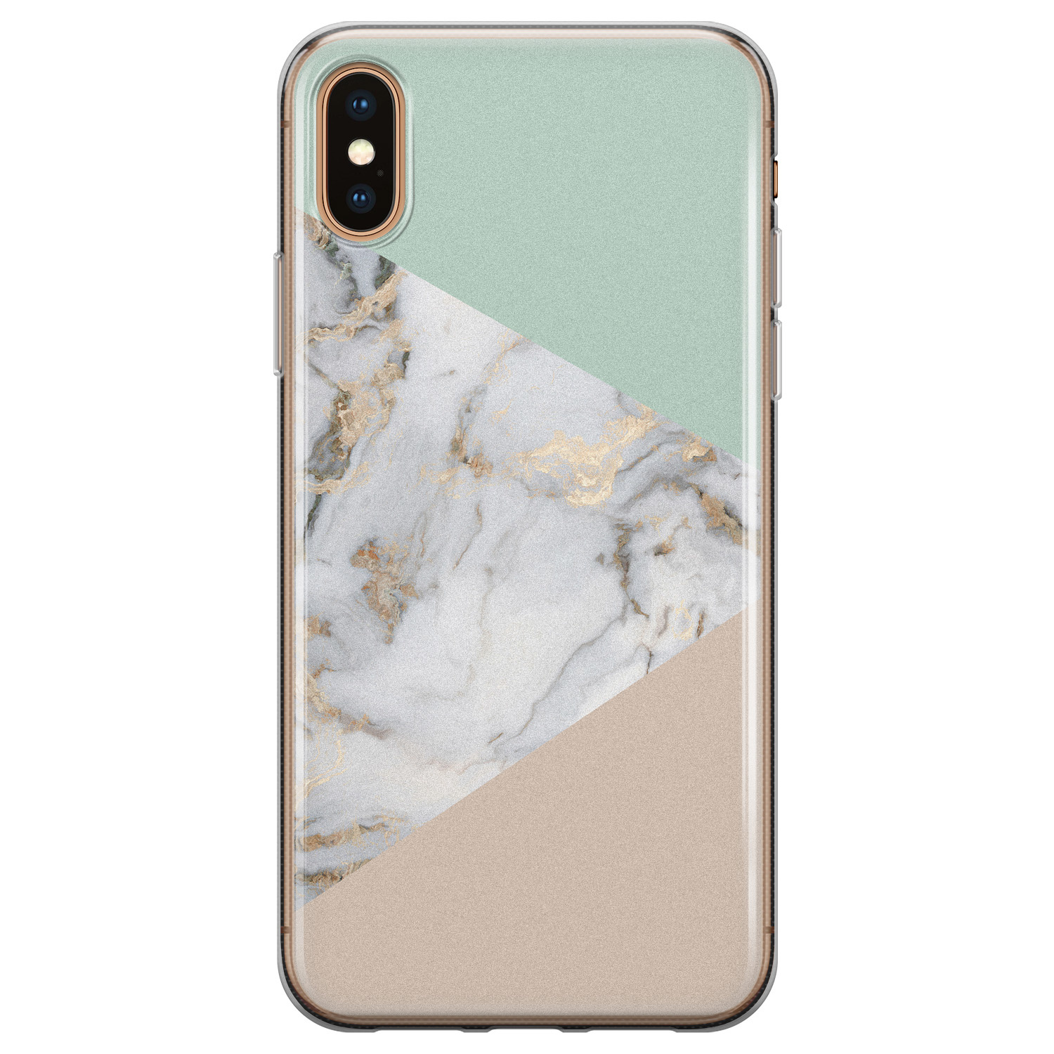 iPhone X/XS siliconen hoesje - Marmer pastel mix