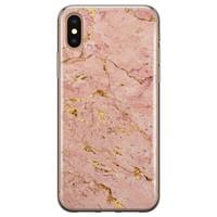 iPhone X/XS siliconen hoesje - Marmer roze goud