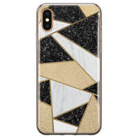 iPhone X/XS siliconen hoesje - Goud abstract