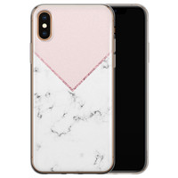 iPhone X/XS siliconen hoesje - Marmer roze grijs