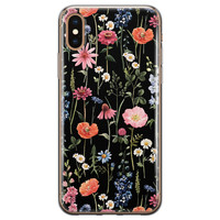 iPhone X/XS siliconen hoesje - Dark flowers
