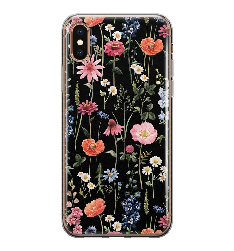 iPhone X/XS siliconen hoesje - Dark flowers