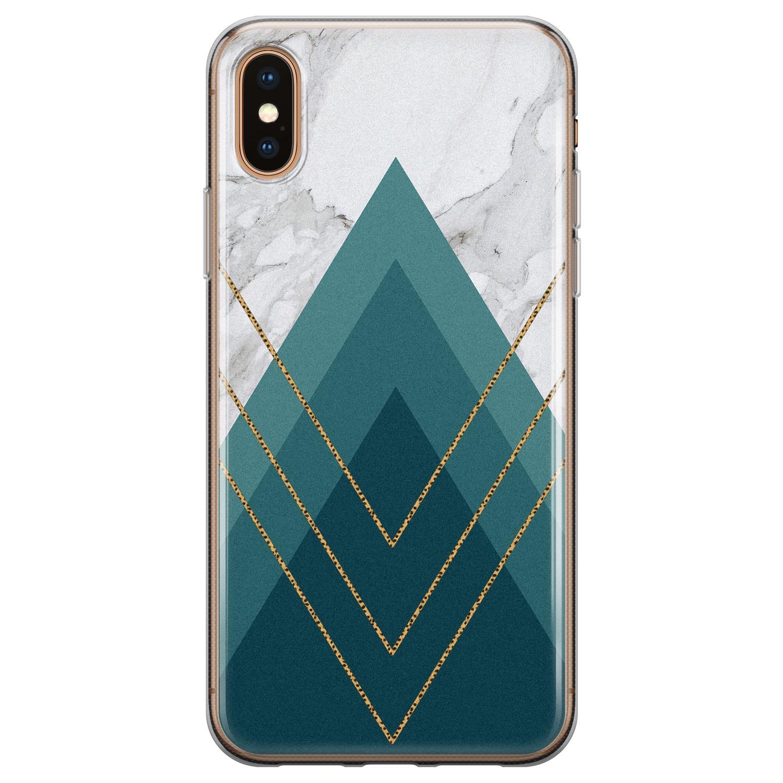 iPhone X/XS siliconen hoesje - Geometrisch blauw