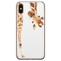 Leuke Telefoonhoesjes iPhone X/XS siliconen hoesje - Giraffe peekaboo