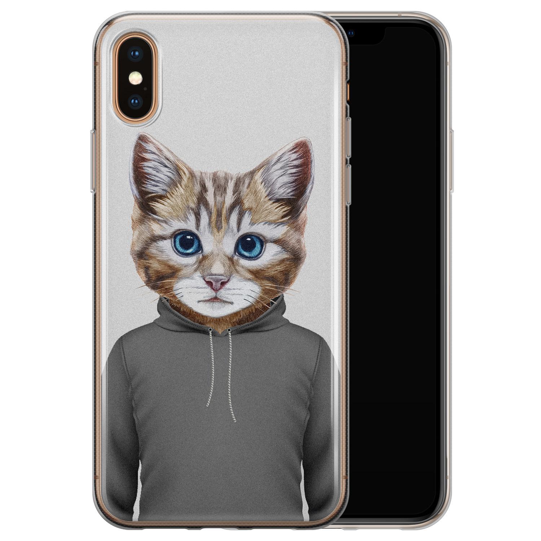 iPhone X/XS siliconen hoesje - Poezenhoofd