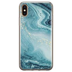 Leuke Telefoonhoesjes iPhone X/XS siliconen hoesje - Marmer blauw