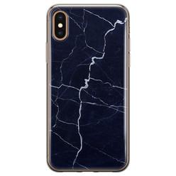 Leuke Telefoonhoesjes iPhone X/XS siliconen hoesje - Marmer navy blauw