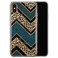 iPhone X/XS siliconen hoesje - Luipaard zigzag