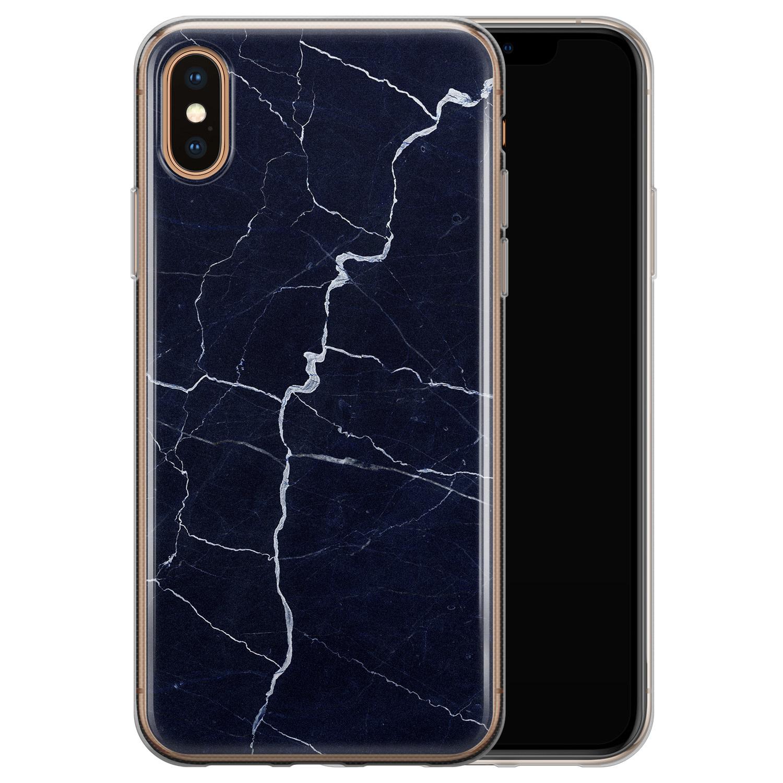 iPhone X/XS siliconen hoesje - Marmer navy blauw