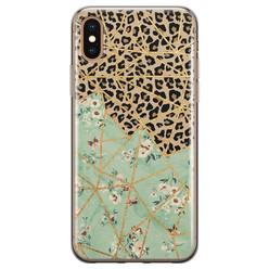Leuke Telefoonhoesjes iPhone X/XS siliconen hoesje - Luipaard flower print