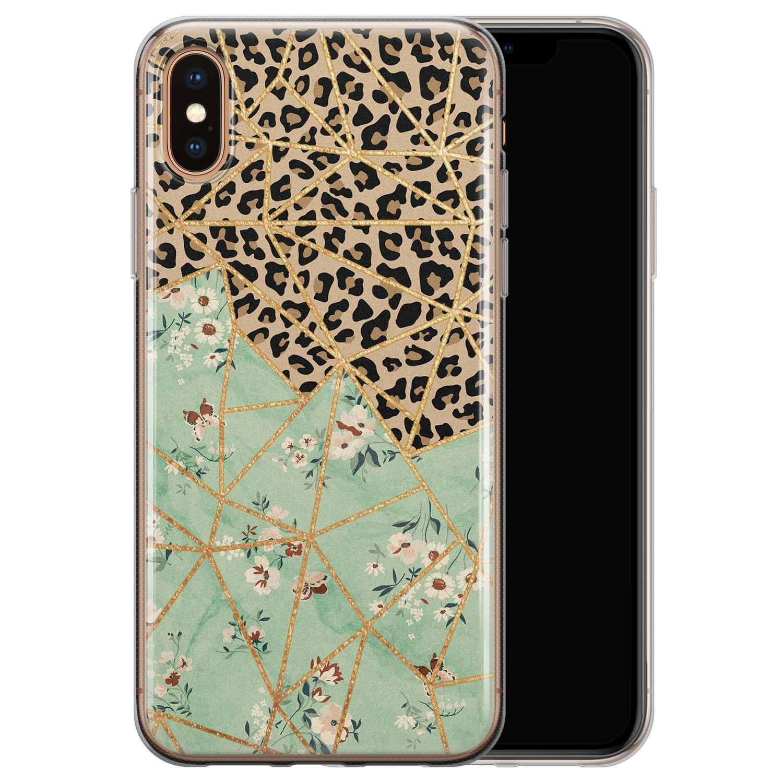 iPhone X/XS siliconen hoesje - Luipaard flower print