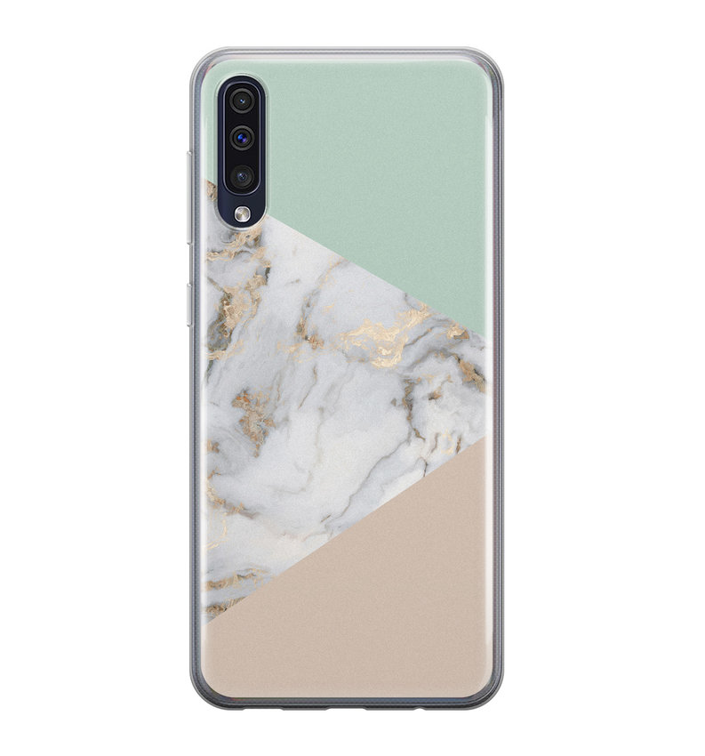 Samsung Galaxy A50/A30s siliconen hoesje - Marmer pastel mix