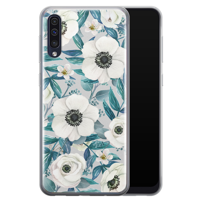 Samsung Galaxy A50/A30s siliconen hoesje - Witte bloemen