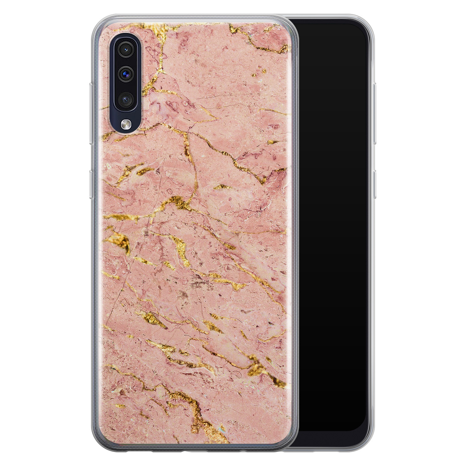 Samsung Galaxy A50/A30s siliconen hoesje - Marmer roze goud