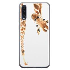 Leuke Telefoonhoesjes Samsung Galaxy A50/A30s siliconen hoesje - Giraffe peekaboo