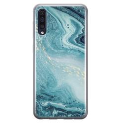 Samsung Galaxy A50/A30s siliconen hoesje - Marmer blauw