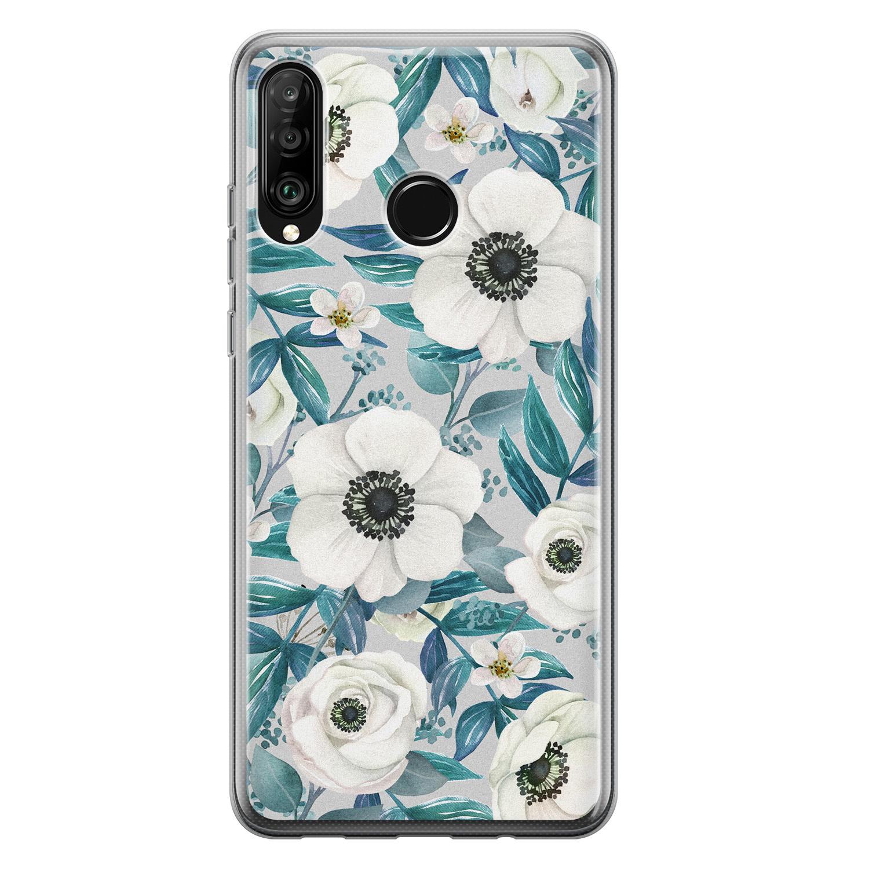Huawei P30 Lite siliconen hoesje - Witte bloemen