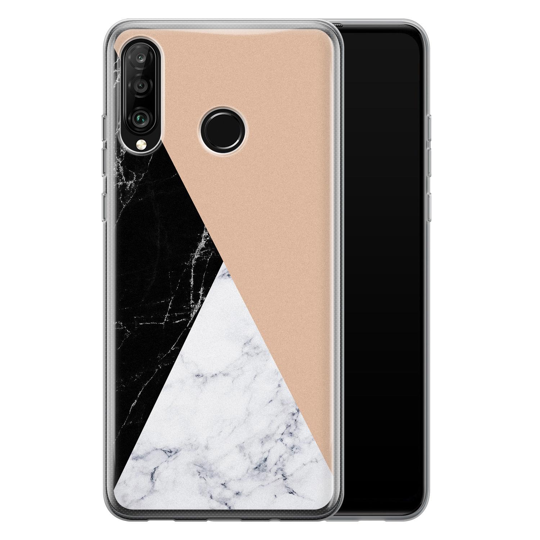 Leuke Telefoonhoesjes Huawei P30 Lite siliconen hoesje - Marmer zwart bruin