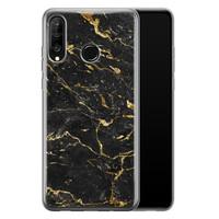 Huawei P30 Lite siliconen hoesje - Marmer zwart goud