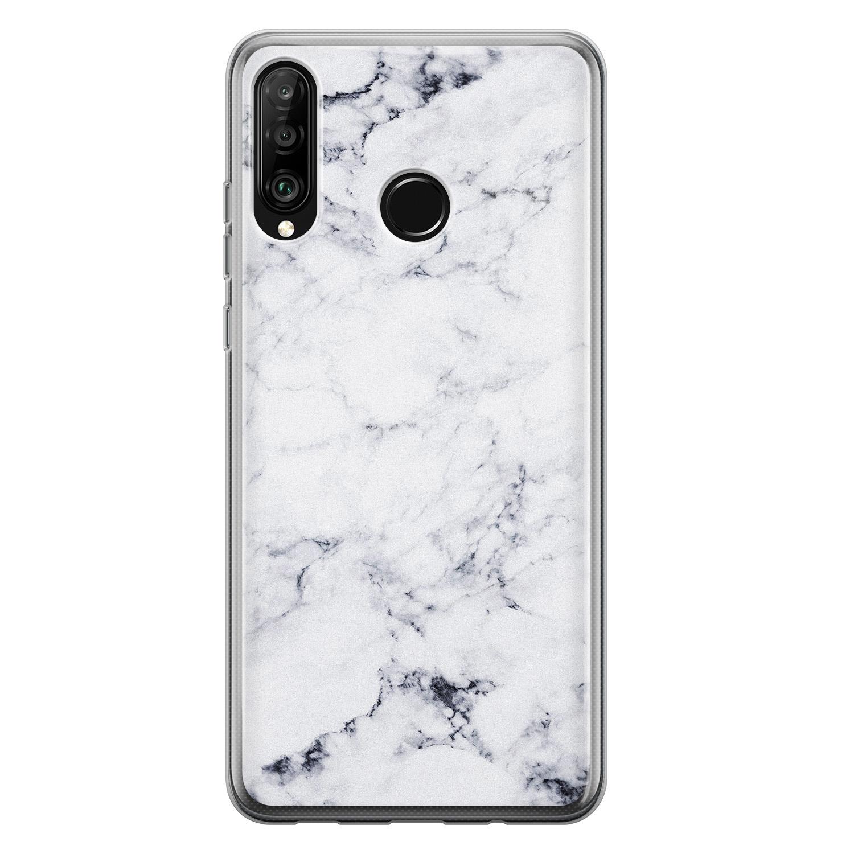 Leuke Telefoonhoesjes Huawei P30 Lite siliconen hoesje - Marmer grijs