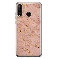 Huawei P30 Lite siliconen hoesje - Marmer roze goud